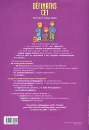 Defi Maths ; Ce1 ; T.1 ; Fiches A Photocopier - 4ème de couverture - Format classique