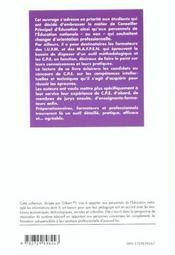 Reussir Les Epreuves Du Concours De Conseiller Principal D'Education - 4ème de couverture - Format classique