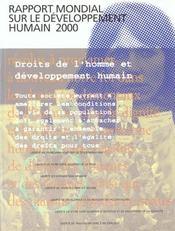 Rapport Mondial Sur Le Dev. Humain 2000 Droits De L'Homme Et Developpt Humain - Intérieur - Format classique