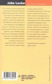 John locke ; le droit avant l'etat - 4ème de couverture - Format classique