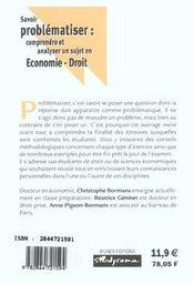 Savoir Problematiser ; Economie-Droit - 4ème de couverture - Format classique