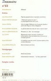 Cahiers De Litterature Orale T.52 ; Voix, Ecritures ; 2002 - 4ème de couverture - Format classique