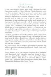Venin Des Borgia - 4ème de couverture - Format classique