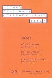 Formes poétiques contemporaines ; prose - Intérieur - Format classique
