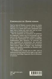 Chronologie de l'empire romain - 4ème de couverture - Format classique