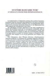 Systeme Bancaire Turc Et Reseaux Financiers Internationaux - 4ème de couverture - Format classique