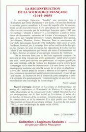 Reconstruction De La Sociologie Francaise 1945-1965 - 4ème de couverture - Format classique