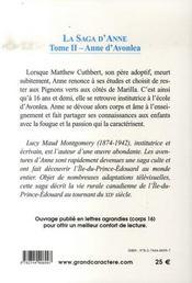 La saga d'Anne t.2 ; Anne d'Avonlea - 4ème de couverture - Format classique
