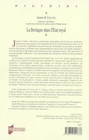 La Bretagne dans l'Etat royal ; classes sociales, Etats provinciaux et ordre public de l'Edit d'Union à la révolte des Bonnets rouges - 4ème de couverture - Format classique