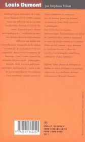 Louis dumont ; holisme et modernite - 4ème de couverture - Format classique