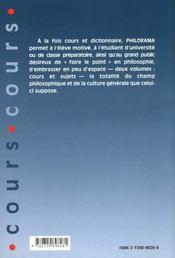 Philorama Cours 729 Entrees - 4ème de couverture - Format classique