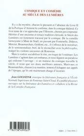 Comique Et Comedie Au Siecle Des Lumieres - 4ème de couverture - Format classique