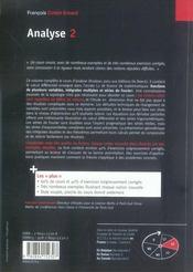 Analyse 2 t.2 - 4ème de couverture - Format classique