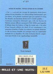 Voyage Autour De Ma Chambre - 4ème de couverture - Format classique