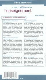 Les métiers de l'enseignement - 4ème de couverture - Format classique