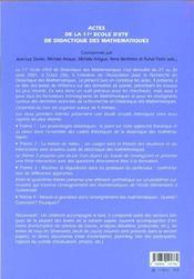 Actes De La 11e Ecole D' Ete De Didactique, Images Du Pouvoir - 4ème de couverture - Format classique