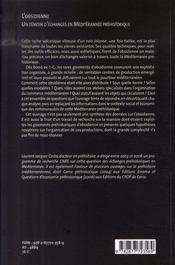 L'obsidienne ; un témoin d'échanges en méditerranée préhistorique - 4ème de couverture - Format classique