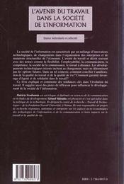 L'avenir du travail dans la société de l'information ; enjeux individuels et collectifs - 4ème de couverture - Format classique