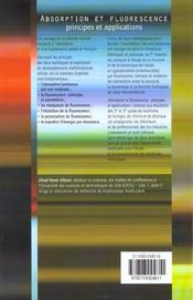 Absorption Et Fluorescence ; Principes Et Applications - 4ème de couverture - Format classique