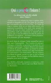 Qui a peur de l'islam ! la democratie est-elle soluble dans l'islam ? - 4ème de couverture - Format classique