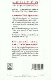 Mots cles tourisme /anglais - 4ème de couverture - Format classique