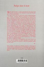 Balzac dans le texte - 4ème de couverture - Format classique