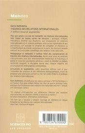 Théories des relations internationales (2e édition) - 4ème de couverture - Format classique