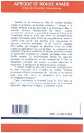 Afrique Et Monde Arabe Echec De L'Insertion Intern - 4ème de couverture - Format classique