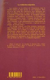 La Traduction-Migration ; Deplacements Et Transferts Culturels Italie-France Xix-Xx Siecles - 4ème de couverture - Format classique