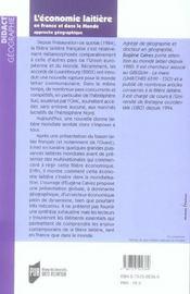 Economie Laitiere En France Et Dans Le Monde - 4ème de couverture - Format classique