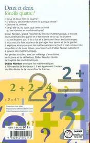 Deux + Deux Font-Ils 4 ? - 4ème de couverture - Format classique
