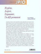 Hygiene Asepsie Ergonomie Un Defi Permanent - 4ème de couverture - Format classique