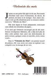 Violoniste Des Mots - 4ème de couverture - Format classique