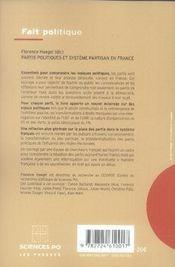 Partis politiques et système partisan en France - 4ème de couverture - Format classique