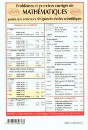 Problemes Corriges De Mathematiques Concours Communs Polytechniques Psi Tsi Tpc Deug Tome 8 1995-97 - 4ème de couverture - Format classique