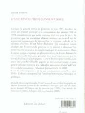 D'une révolution conservatrice et de ses effets sur la gauche française - 4ème de couverture - Format classique