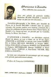 D'Aznavour A Zavatta - 4ème de couverture - Format classique