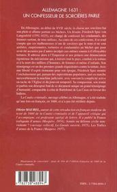 Allemagne 1631 ; Un Confesseur De Sorcieres Parle ; Cautio Criminalis - 4ème de couverture - Format classique