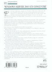 Windows Serveur 2003 En Concentre - 4ème de couverture - Format classique