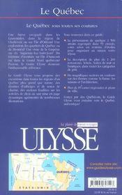 Le quebec - 4ème de couverture - Format classique