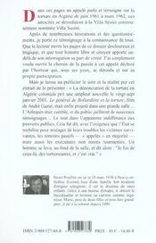 Villa susini- tortures en algerie - 4ème de couverture - Format classique