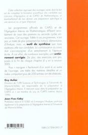 Analyse Pour Le Capes Et L'Agregation Interne Maths Capes Agreg - 4ème de couverture - Format classique