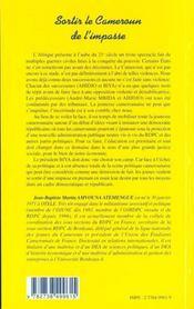Sotir Le Cameroun De L'Impasse - 4ème de couverture - Format classique