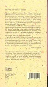 Le livre des bonnes herbes - 4ème de couverture - Format classique