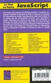 Le Tout En Poche Javascript - 4ème de couverture - Format classique