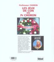 Les Jeux De Con Du Professeur Choron - 4ème de couverture - Format classique
