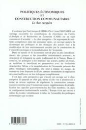 Politiques Economiques Et Construction Communautaire ; Le Choc Europeen - 4ème de couverture - Format classique