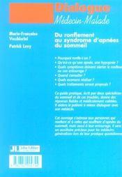 Du Ronflement Au Syndrome D'Apnees Du Sommeil - 4ème de couverture - Format classique