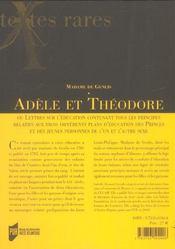 Adele ou theodore. ou lettres sur l education - 4ème de couverture - Format classique
