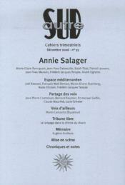Revue Autre Sud T.35 ; Annie Salager - Couverture - Format classique